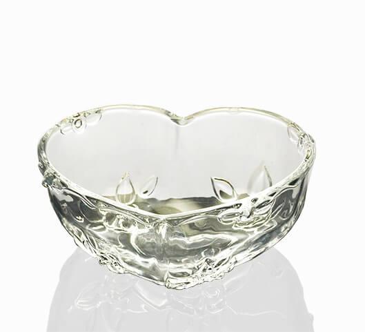 精美心形花纹玻璃果盘玻璃碗糖果盘浮雕果盘